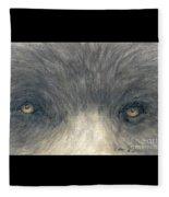 Black Bear Eyes Wildlife Animal Art Fleece Blanket
