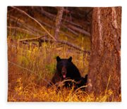 Black Bear Sticking Out Her Tongue  Fleece Blanket