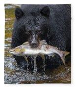 Black Bear With Salmon Fleece Blanket