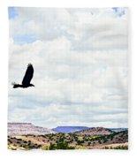 Black Bird In Flight Fleece Blanket