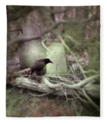 Black Bird In Forgotten Graveyard Fleece Blanket