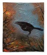Black Bird Fleece Blanket
