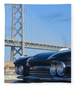 Black Cadillac In San Francisco Fleece Blanket