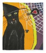 Black Cat In A Hat  Fleece Blanket