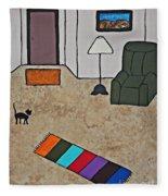 Essence Of Home - Black Cat In Living Room Fleece Blanket