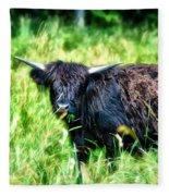 Black Cow Fleece Blanket