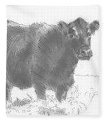 Black Cow Pencil Sketch Fleece Blanket