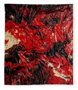 Black Cracks With Red Fleece Blanket