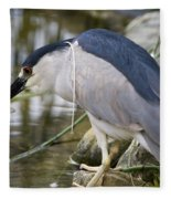 Black-crown Heron Going Fishing Fleece Blanket