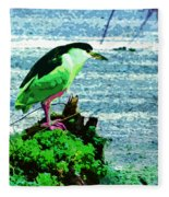 Black Crowned Green Night Heron Fleece Blanket