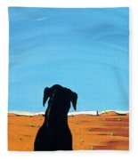 Black Dog In Chestertown, 1998 Fleece Blanket