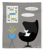 Black Egg Chair Fleece Blanket