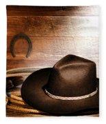 Black Felt Cowboy Hat Fleece Blanket