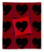 Black Hearts Fleece Blanket