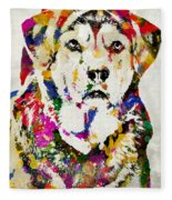 Black Lab Watercolor Art Fleece Blanket