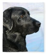 Black Labrador Retriever After The Swim Fleece Blanket