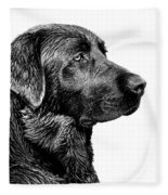 Black Labrador Retriever Dog Monochrome Fleece Blanket