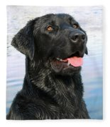 Black Labrador Retriever Dog Smile Fleece Blanket