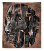 Black Labrador Typography Artwork Fleece Blanket