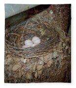 Black Phoebe Nest With Eggs Fleece Blanket