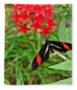 Black Red And White Butterfly Fleece Blanket