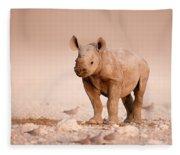 Black Rhinoceros Baby Fleece Blanket
