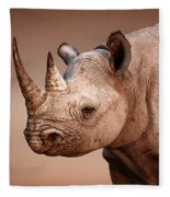 Black Rhinoceros Portrait Fleece Blanket