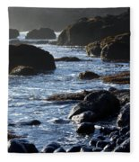 Black Rocks And Sea  Fleece Blanket