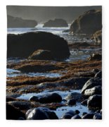 Black Rocks Lichen And Sea  Fleece Blanket