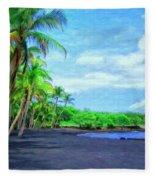 Black Sand Beach At Punaluu Fleece Blanket