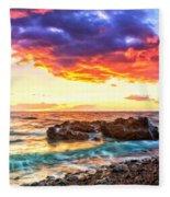 Black Sand Sunset Fleece Blanket