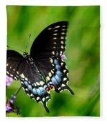 Black Swallowtail Butterfly In Garden Fleece Blanket