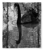 Black Swan Series Iv - Black And White Fleece Blanket