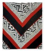 Black Thai Fabric 01 Fleece Blanket