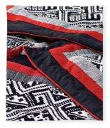 Black Thai Fabric 04 Fleece Blanket