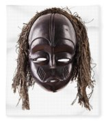 Black Tribal Face Mask On Isolated On White Fleece Blanket