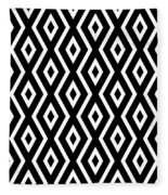 Black And White Pattern Fleece Blanket by Christina Rollo