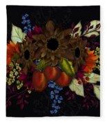 Black With Flowers And Fruit Fleece Blanket