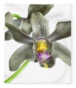 Black Yellow And Purple Orchid Fleece Blanket