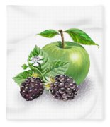 Blackberries And Green Apple Fleece Blanket