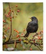 Blackbird On Branch Fleece Blanket