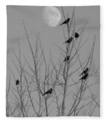 Blackbirds By The Moon Fleece Blanket