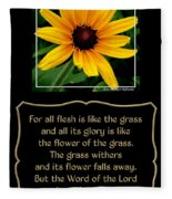Blackeyed Susan With Bible Quote From 1 Peter Fleece Blanket