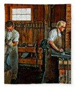 Blacksmith And Apprentice Impasto Fleece Blanket