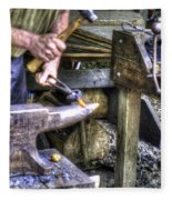 Blacksmith Working Iron V1 Fleece Blanket