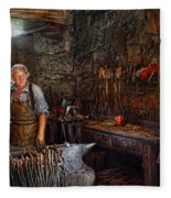 Blacksmith - Working The Forge  Fleece Blanket