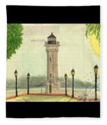 Blackwell Island Lighthouse Ny Chart Map Art Fleece Blanket