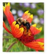 Blanket Flower And Bumblebee Fleece Blanket