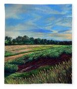 Blazing Sun On Farmland Fleece Blanket