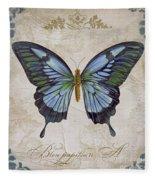 Bleu Papillon-a Fleece Blanket